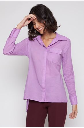 Camisa-de-Voil-Lilas-Com-Costas-Alongadas-close-frente
