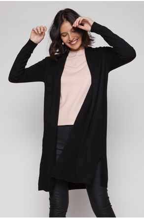 Cardigan-Preto-Longo-Aberto-Na-Lateral-close-frente