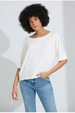 Blusa-Off-White-Ampla-Manga-3-4-Close-Frente