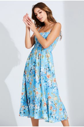 Vestido-Azul-Midi-Estampado-Com-Lastex-Close