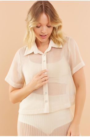 Camisa-Cropped-Bege-De-Organza-Manga-Curta-close-frente