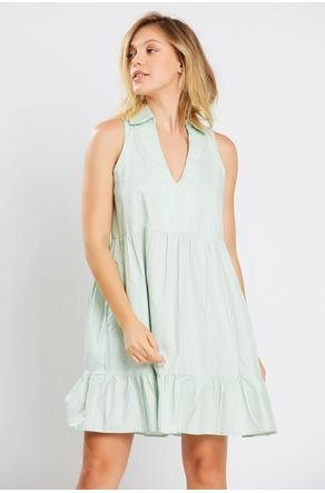 Vestido-Verde-Decote-V-Com-Gola-Close