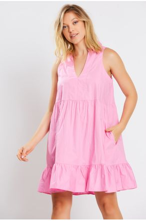Vestido-Rosa-Decote-V-Com-Gola-Close