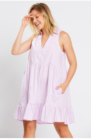 Vestido-Lilas-Decote-V-Com-Gola-Close