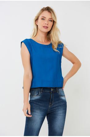 Regata-Cropped-Sarjada-Azul-Com-Rolete-Close-Frente