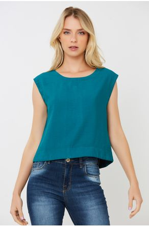 Regata-Cropped-Sarjada-Verde-Com-Rolete-Close-Frente