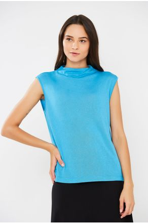 Blusa-Azul-Tricot-Stretch-Gola-Alta-Close