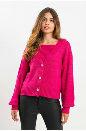 Twinset-Pink-De-Tricot-Com-Regata-Close-Frente