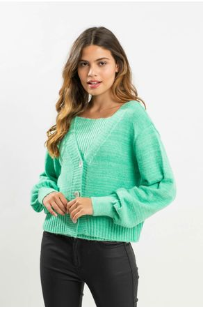 Twinset-Verde-De-Tricot-Com-Regata-Close-Frente