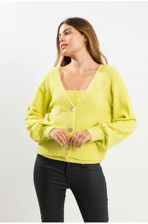 Twinset-Verde-limao-De-Tricot-Com-Regata-Close-Frente