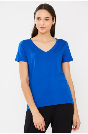 Blusa-Azul-Royal-Manga-Curta-Lisa-Close-Frente