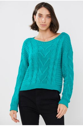 Tricot-Verde-Esmeralda-Decote-Canoa-close-frente