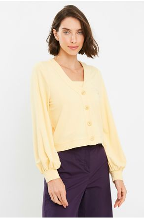 Twin-Set-Moletinho-Amarelo-Cropped-Com-Botoes-Close