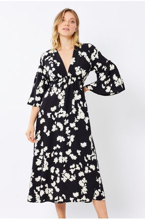 Vestido-Midi-Preto-Estampado-Abertura-Nas-Costas-Close