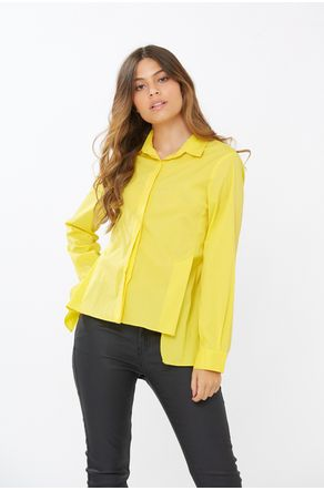 Camisa-Amarela-Com-Fenda-Na-Lateral-close-frente